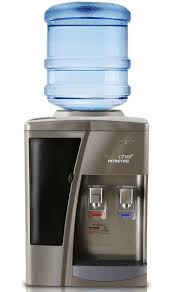 nutrichef countertop water cooler dispenser hot cold water child safety lock holds 3 or 5 gallon bottles silver