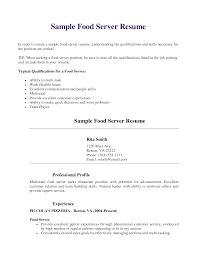 Job Resume Server Resume Skills Food Server Sample Resume Server