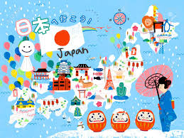 Animated Travel Map Colorful Japan Travel Map Lets Go To Japan In Japanese On