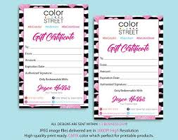 gift certificate for business personalized color street gift certificate color street gift
