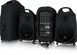 sound system with mic. ultra-compact 2000-watt 8-channel portable pa system with bluetooth wireless technology, microphone option, klark teknik multi-fx processor and fbq sound mic n