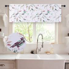 Bathroom valance curtains Poupala Holking Bird Pattern Kitchen Valances For Windowsblackout Window Valances For Bedroomliving Roombathroom Rod Pocket Valance Curtains 52 Inch Wide By 18 Thecointossco Amazoncom Holking Bird Pattern Kitchen Valances For Windows