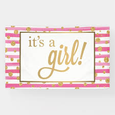 Its A Girl Banner New Baby Pink And Gold