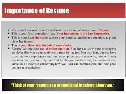 Importance of ResumeImportance of Resume .