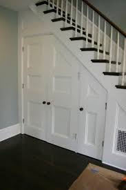 Under stair closets - doors on the side are so much more accessible! For my  basement stairs!