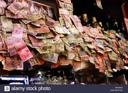 Impressionen Geld In Einer Bar Venedig Italien Stock
