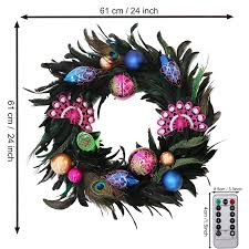 Battery Pack Lights For Wreath Valery Madelyn Pre Lit 24 Decorative Peacock Wreath With Shatterproof Ornaments Battery Operated 20 Led Lights With Remote Timer