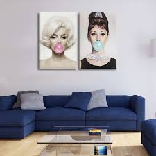 wish marilyn monroe audrey hepburn blow bubbles es canvas painting prints posters wall pictures for living room wall art home decor no frame