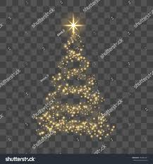 Gold Tree Lights Christmas Tree On Transparent Background Gold Stock Vector