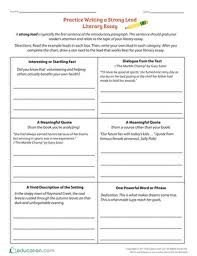 practice writing a strong lead literary essay worksheet  fourth grade reading writing worksheets practice writing a strong lead literary essay