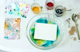 marbling with oil and food coloring