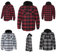 details about mens hooded flannel jacket sherpa lined hood pockets full zip quilted xs 4xl