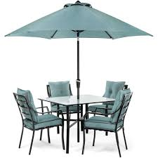 hanover lavallette black steel 5 piece outdoor dining set with umbrella base and ocean