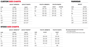 Wilson Jersey Size Chart