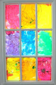 rainbow watercolor resist stained glass window painting on windows can you paint for privacy a 1