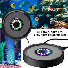 Us 12 81 30 Off Aquarium Led Light Submersible Light Fish Tank Bubble Air Stone Disk Light Multi Colored Aquarium Decorations D30 In Lightings From