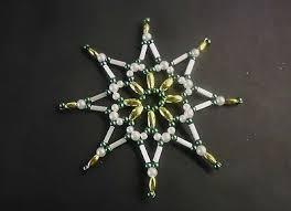 Perlenstern Grünweissgold 8 Cm Weihnachten Handarbeit