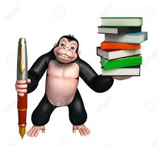 3d rendered ilration of gorilla cartoon character with book stack and pen stock ilration 53900593