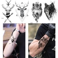 Geometry Moose Tattoo Men Sexy Stickers Deer Temporary Tattoo Women Arrow Triba Wolf King Totem Water Transfer Tatoos Black