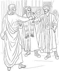 Jezus Geneest Een Man Met Een Verschrompelde Hand Kleurplaat