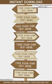 camping party directional signs direction arrows diy editable template camping birthday party