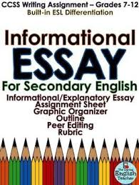 informational essay common core secondary english essay  this common core informational expository essay pack includes two informational essay topics a brainstorming
