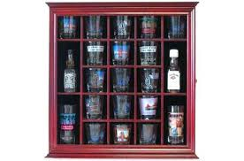 shot glass shooter display case holder rack wall cabinet curio cases