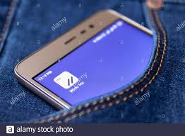 Icon wickr me on the screen of a smartphone in your jeans pocket.  Cheboksary, Russia, 02/17/2019 Stock Photo - Alamy