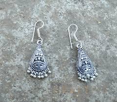 rustic charm desi jhumka oxidized silver tibet silver earring ear drop dangle arts crafts rustic charm