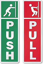 Asmi Collections Self Adhesive Push And Pull Sign Stickers Set Of 4