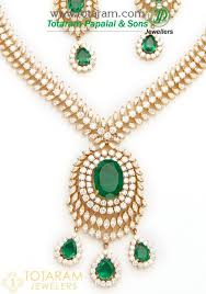 18k gold diamond necklace drop earrings set with green stones 235 ds549
