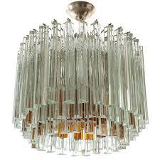 venini glass chandelier triedri crystal glass italy 1960s for