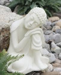 garden buddha. Resting Buddha Statue In Pearl White Finish, Home And Garden