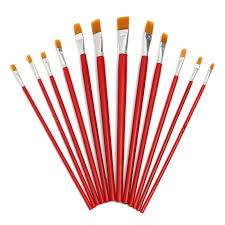 find more paint brushes information about 12pcs set best promotion red art flat tip paint wood painting brush set brushes for watercolor artist supplies oil