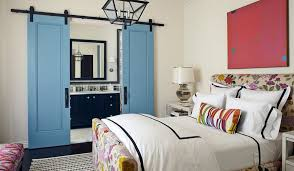 blue sliding barn doors for bathroom