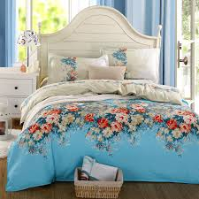 minimalist bedroom with blue red flower full bedding bedclothes sets comforter light blue curtains modern