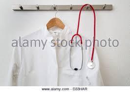 Lab Coat Rack Stunning Medical Lab Coat And Stethoscope Hanging On Hanger Stock Photo