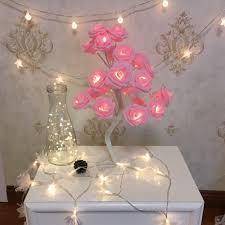Flower Lights For Bedroom 24 Led Rose Flower Table Lamps Desk Night Light Decorative Indoor Bedroom