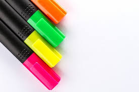 colorful office accessories. Different Colorful Markers With Office Accessories On White Table. Top View. Work Study M