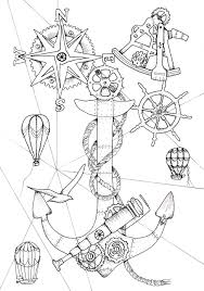 instructive steampunk coloring pages ocean a nautical book device