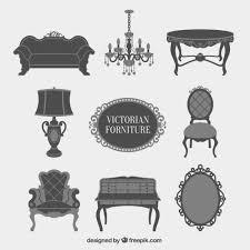 creative furniture icons set flat design. grey victorian furniture icons set free vector creative flat design a