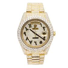 Edition Date Rolex Diamond Out Special Arabic Watch Day Gold 18k Dial Iced