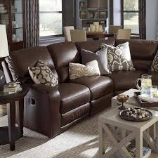 Furniture, Wonderful Classic Style Dark Brown Leather Living Room Sectional  Sofa With Recliner Furniture And Brown Couch Living Room Wall Colors