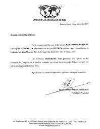 Reference Letter Union De Las Assembleas De Dios Argentina
