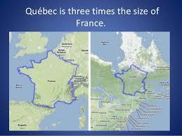 la size la geographie du quebec et du canada francais