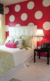 bedroom wall designs for girls. Marvellous Design For Teenage Girl Bedroom Decoration : Alluring  With Red Polka Bedroom Wall Designs For Girls