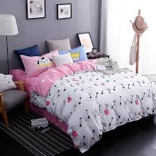3d bedding sets star galxy duvet cover heart white pink 4pcs cartoon bed sheets single twin