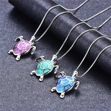 whole boho blue white green fire opal necklace 925 sterling silver turtle pendants necklaces for women animal jewelry new year gifts birthstone pendant