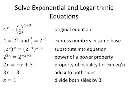 use properties of exponents 5 property of equality for exponential equations 6 solve for x 7 check your answer