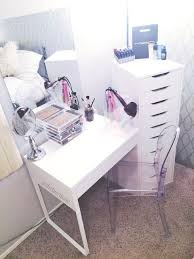 diy white ikea vanity makeup organization louis ghost chair dupe muji acrylic 5 drawer makeup organizer white micke desk beveled edge wall